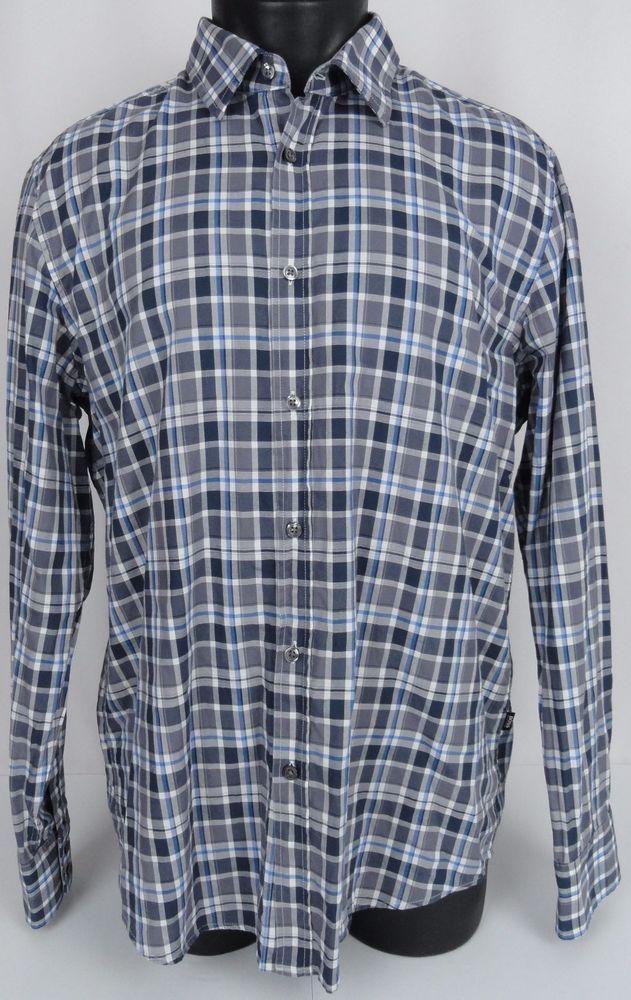 HUGO BOSS Shirt Men's XL Regular Fit Lukas Plaid Dress Button Up Blue Gray  LS | Boss shirts and Hugo boss