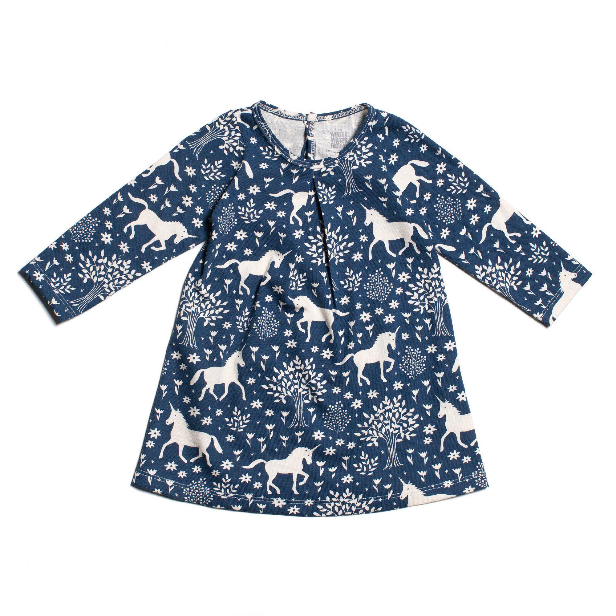 Navy Magical Forest Aspen Baby Dress