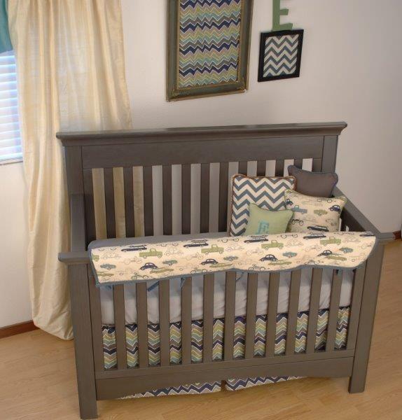 Vintage car and chevron fabric crib bedding zig zag for Boy nursery fabric