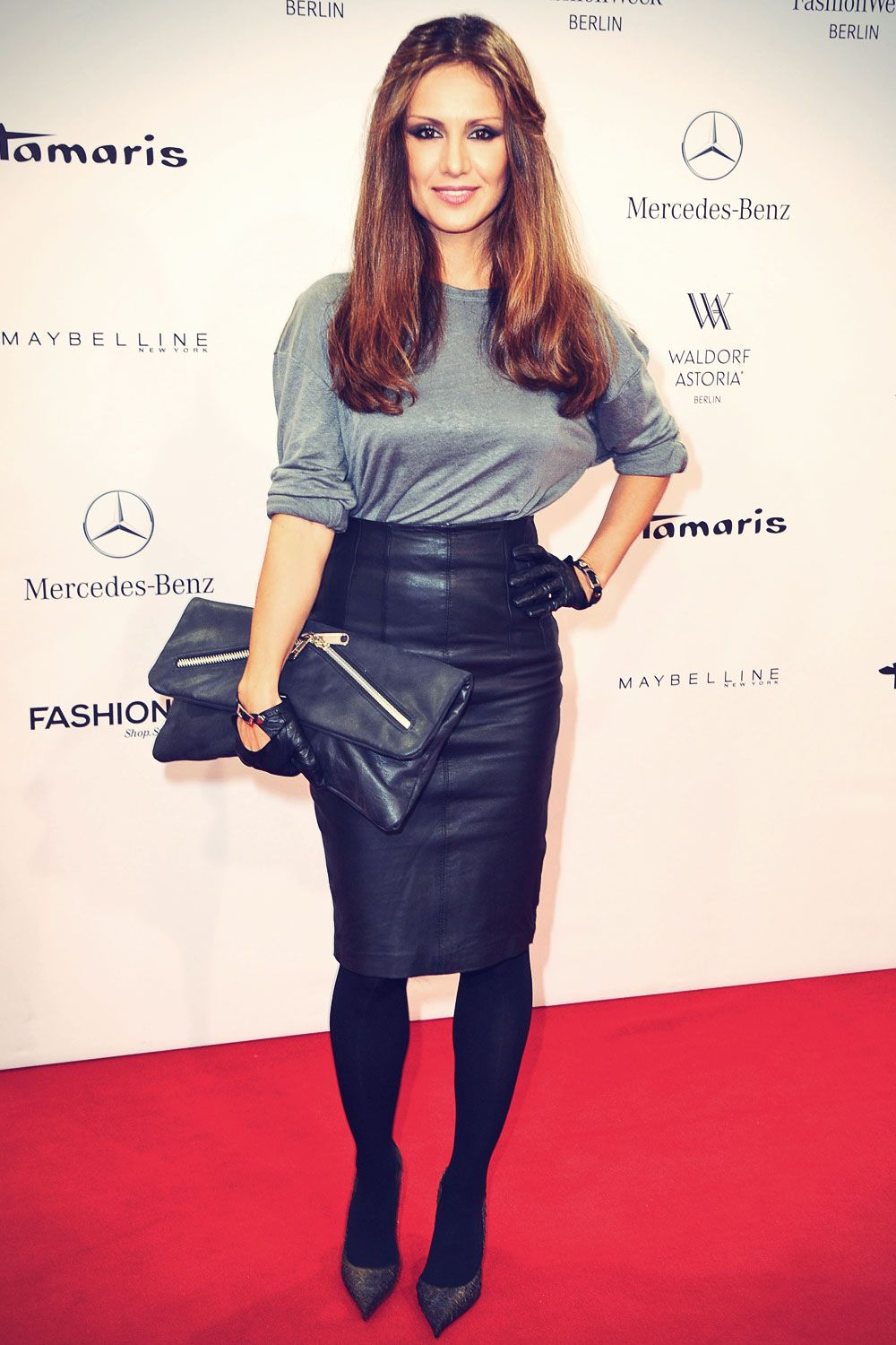 Nazan Eckes Attends Mercedes Benz Fashion Week Celebs In Leather Pinterest Nazan Eckes