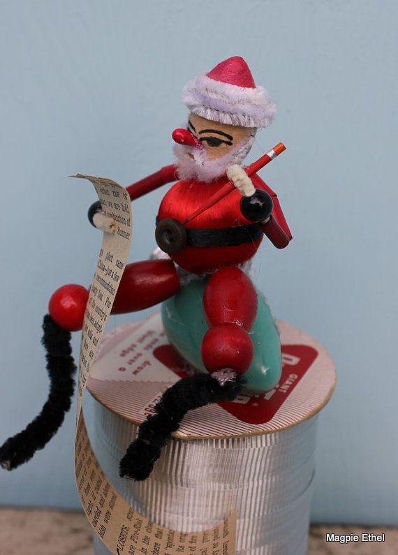 Vintage Style Spun Head Santa  Making His List by MagpieEthel