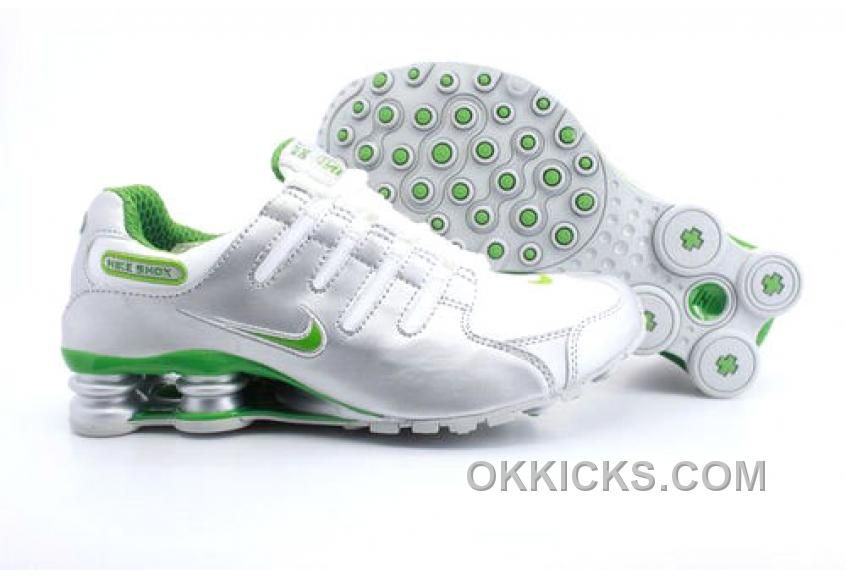 Discount Authentic Mens Nike Shox NZ Shoes Metallic Silver/White/Green