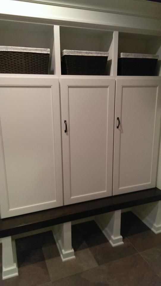 Mudroom Lockers With Doors To Hide Coat Clutter