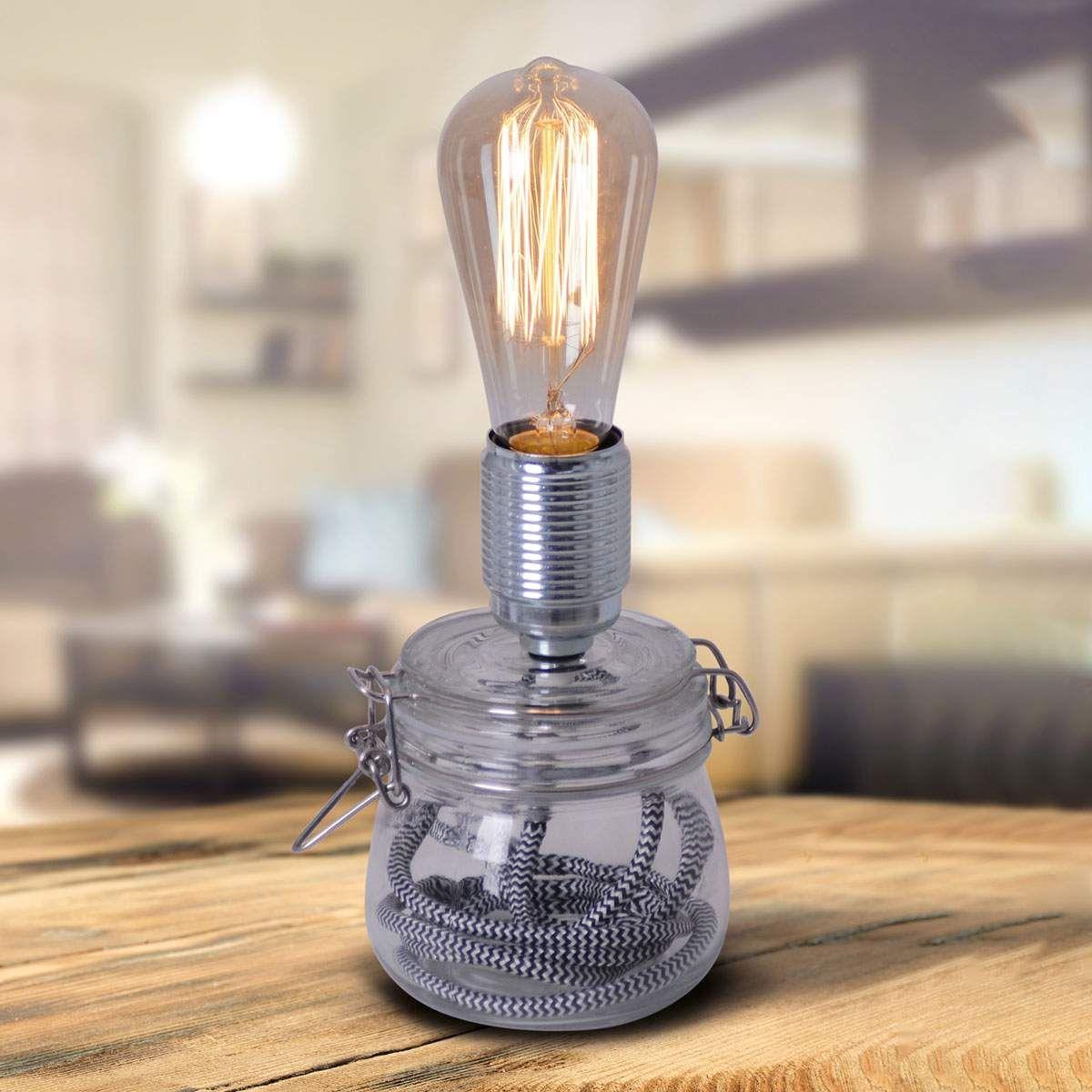 Tischleuchte Max Mit Glasfuss Von Naeve Leuchten Tischleuchte Vintage Tischlampen Lampentisch