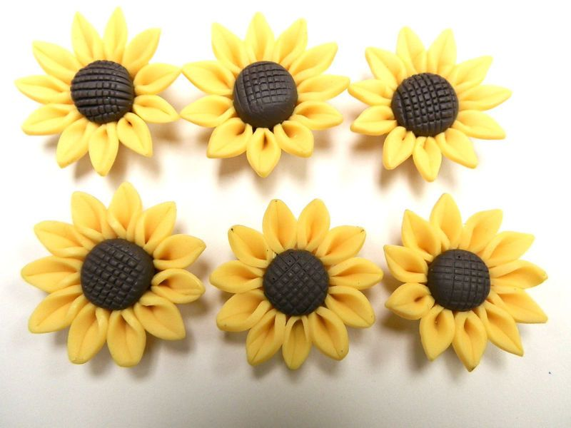 6 Fimo Polymer Clay Brown Yellow Sunflower Flower Fimo Beads 30mm 3 99 Via Etsy Fimo Polymere