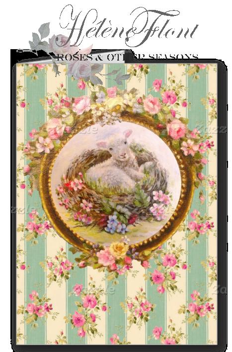 Blessing. Baby lamb & bird nest by Helen Flont Postcard.