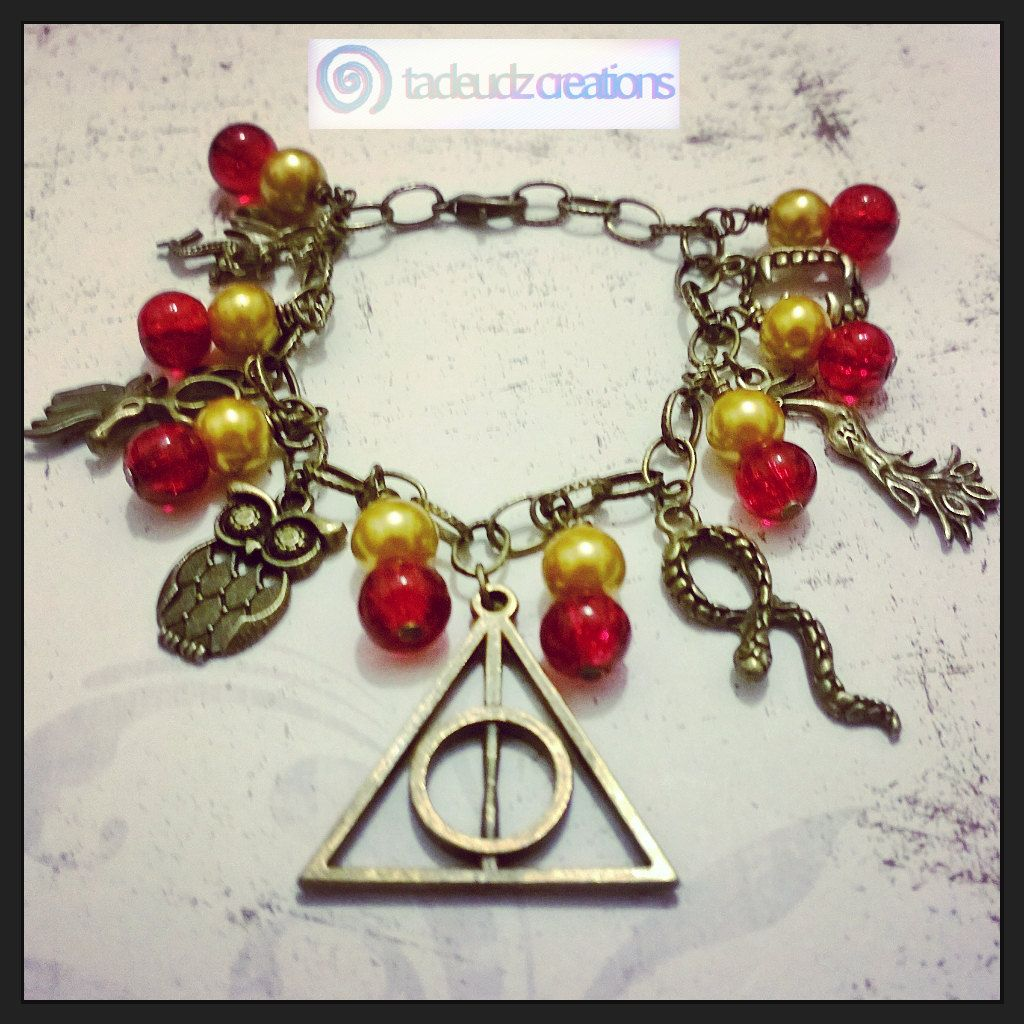 Harrypotter Inspired Bronze Charm Bracelet By Tadeudzcreations On