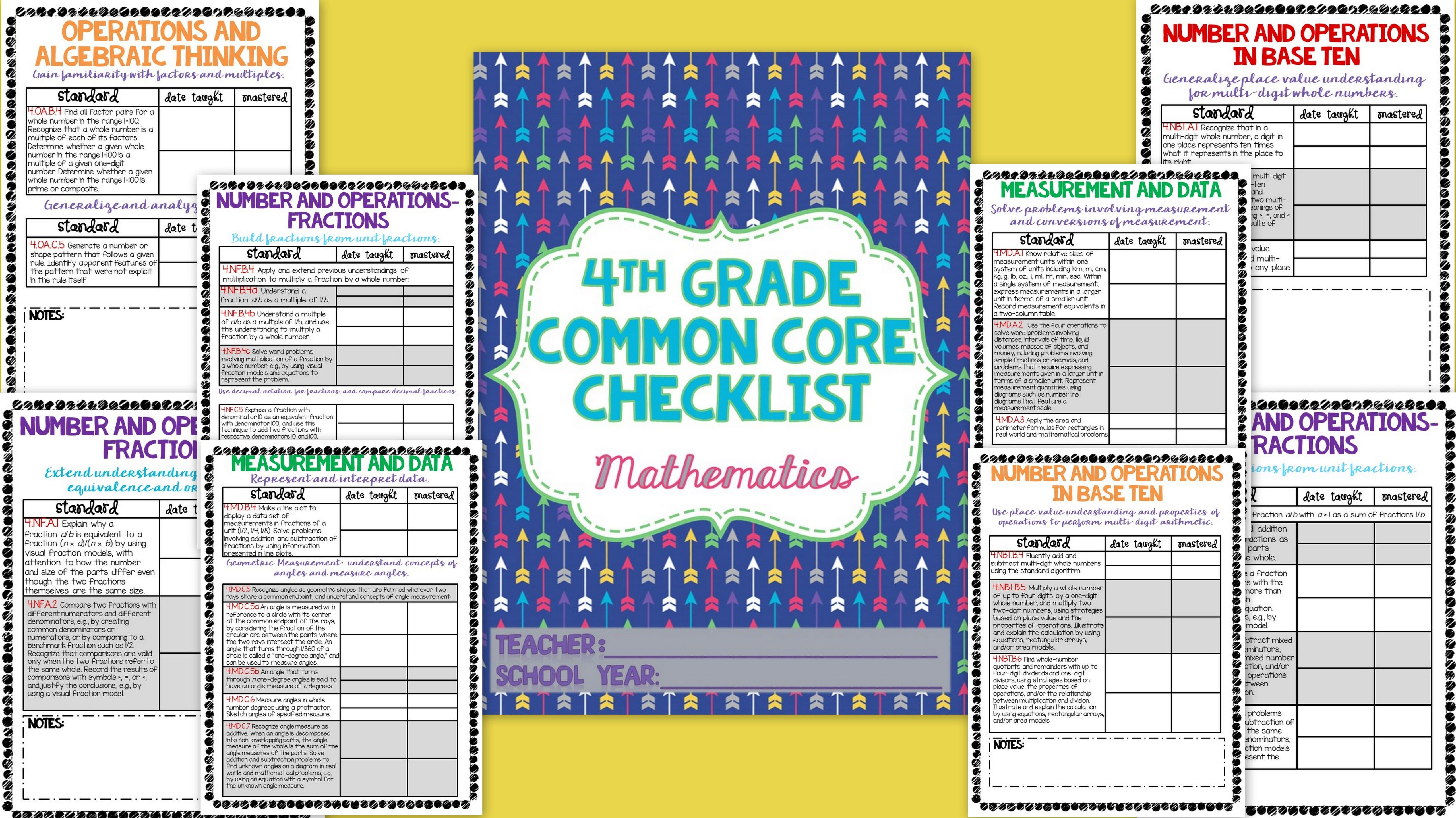 4th grade math common core checklist! Easily keep track of which standards you have taught and which ones that have been mastered! 4th grade math