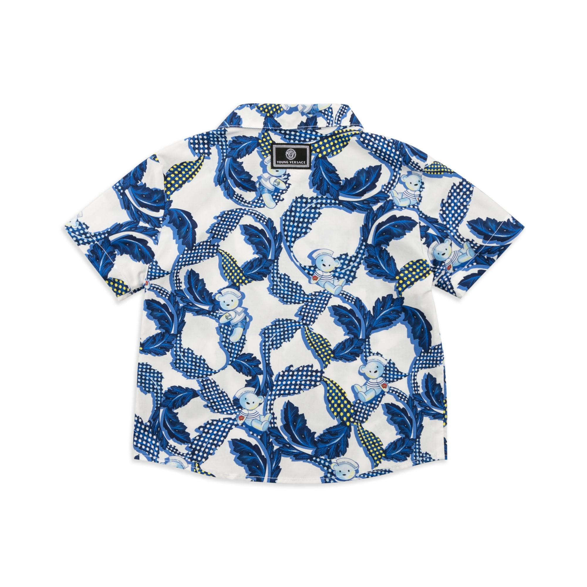 YOUNG VERSACE Baby Boys Baroque Shirt White Baby short sleeve