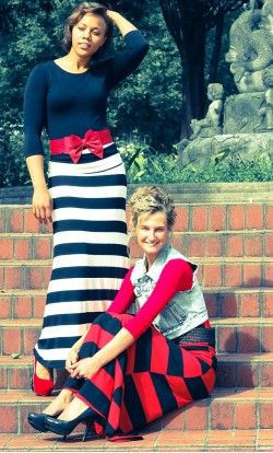 Melody striped flared maxi skirt with foldable banded waist available in red and black S-XL