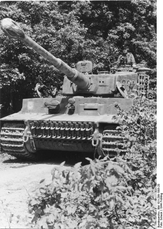 Tiger I heavy tank of the German 1st SS Division Leibstandarte SS Adolf Hitler in Northern France, spring 1944, photo 4 of 5
