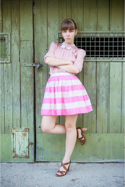 Bubble gum pink striped H Skirt