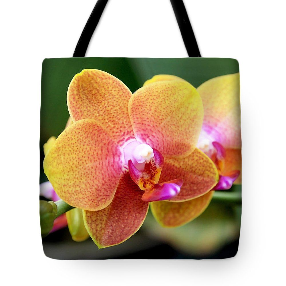 Pink yellow orchid tote bag this colorful tote bag is machine