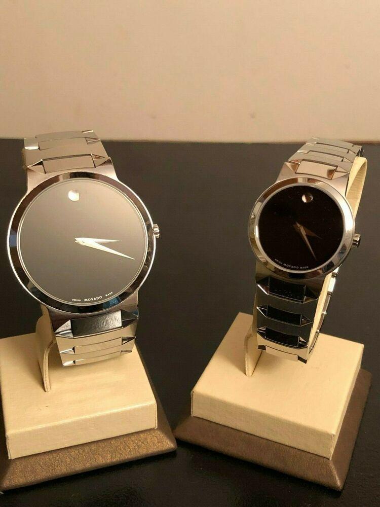 Movado Watch Set Ladies And Men Temo Model Black Dial Silver