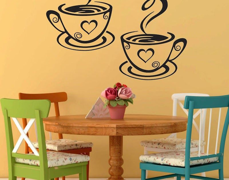 1PC Coffee Cups Cafe Tea Wall Stickers Art Vinyl Decal Kitchen Home ...