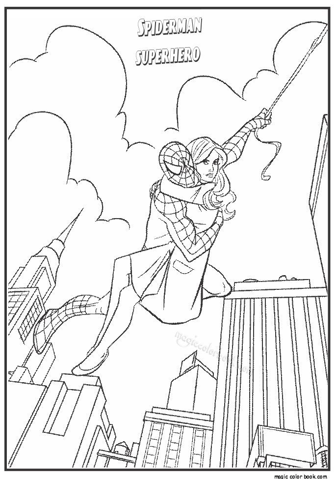 Carrying spiderman mary jane coloring picture for kids
