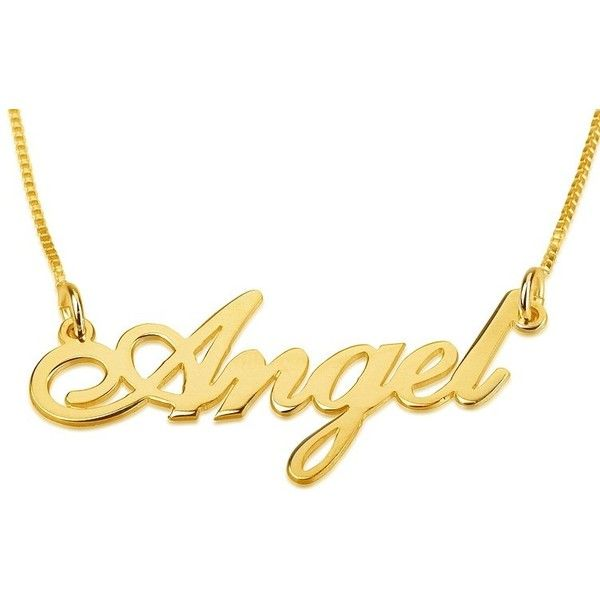 24K Gold Plated Silver Name Necklace in English (Shelly Allegro... ($47) ❤ liked on Polyvore featuring jewelry, necklaces, 24 karat gold necklace, 24k jewelry, 24-karat gold jewelry, gold plated silver jewellery and gold plated silver jewelry