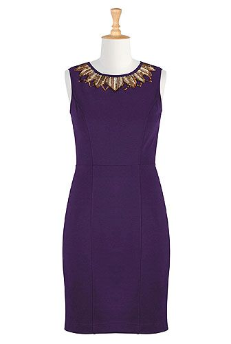 Just say NO to black! eShakti Gold glamor ponte knit dress. Purple = color of queens! Comfy fabric. hmu & I'll knit you a gold fun fur shrug to go with! - gypsy18