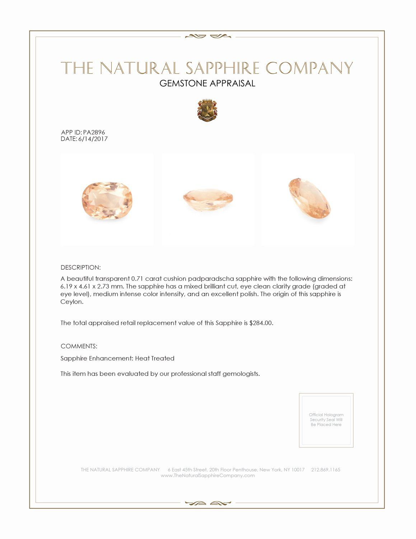 Natural padparadscha sapphire pa certification 샤파이어
