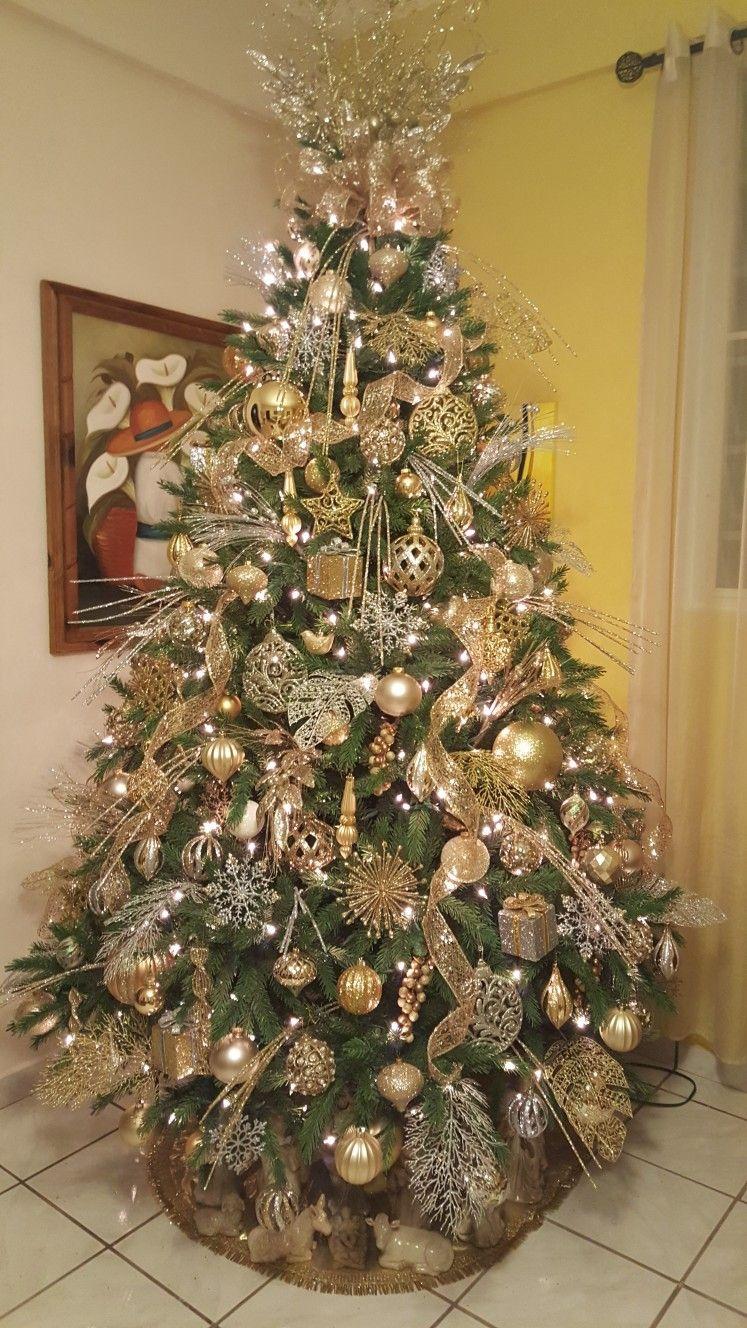 Elegante dorado y plata decoracion navidad rbol de - Arboles de navidad elegantes ...