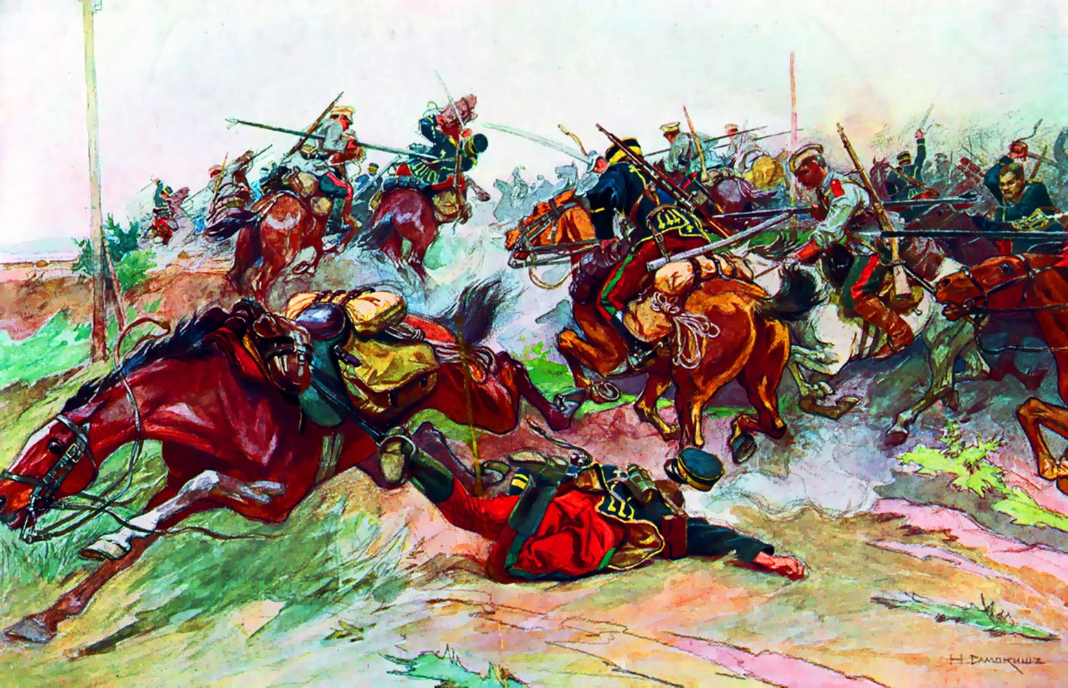 Skirmish Battle Between Russian And Japanese Cavalry In Northern