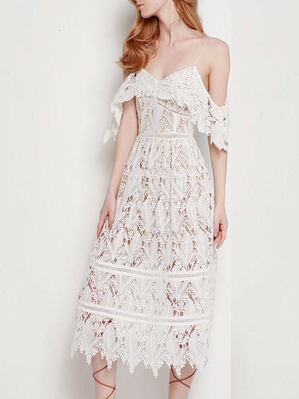 White V Neck Cold Shoulder Spaghetti Strap Midi Lace Dress Lace Midi Dress Dresses Lace Dress [ 1500 x 1125 Pixel ]