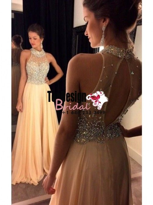 Wholesale Vestidos De Fiesta New 2017 A-Line/Princess Chiffon Crystal High Neck Sweep/Brush Train Prom Evening Party Dresses