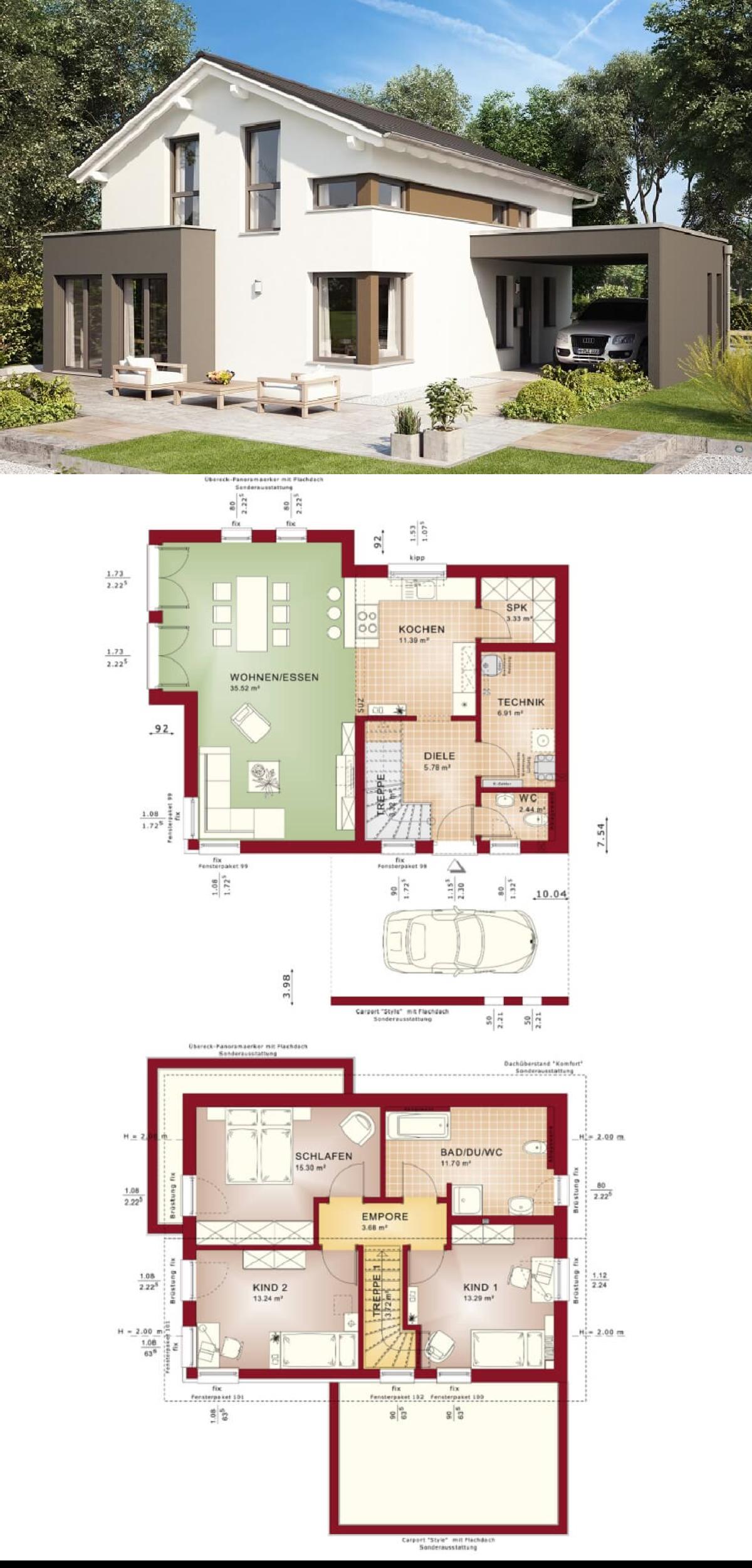 Einfamilienhaus Modern Grundriss Offen Mit Satteldach Haus Edition 3 V3 Bien Zenker Fertighaus Hausbaudire Haus Grundriss Fassade Haus Anbau Haus