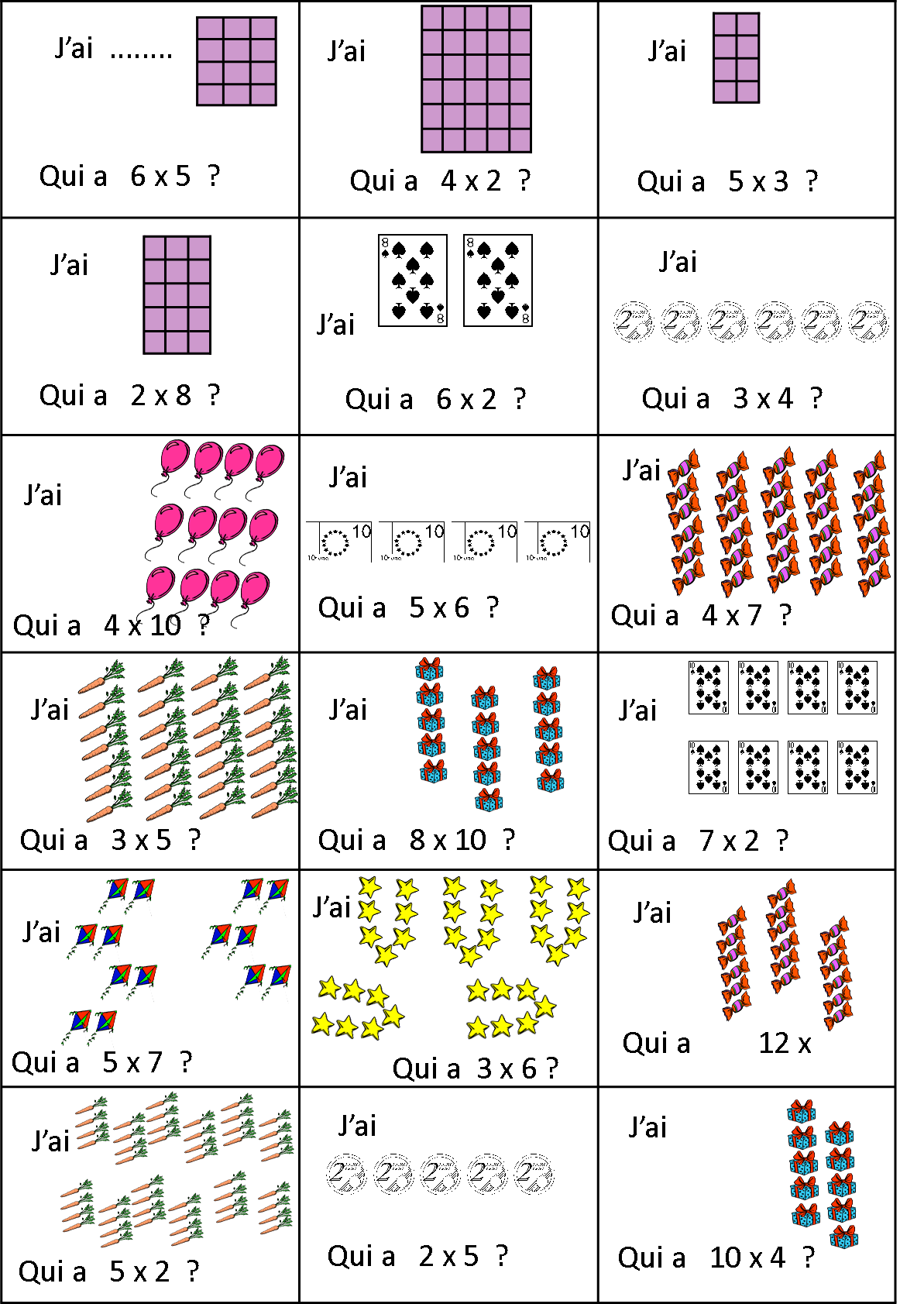 J 39 ai qui a multiplication repr sentation multplication division pinterest multiplication - Exercice ce1 table de multiplication ...