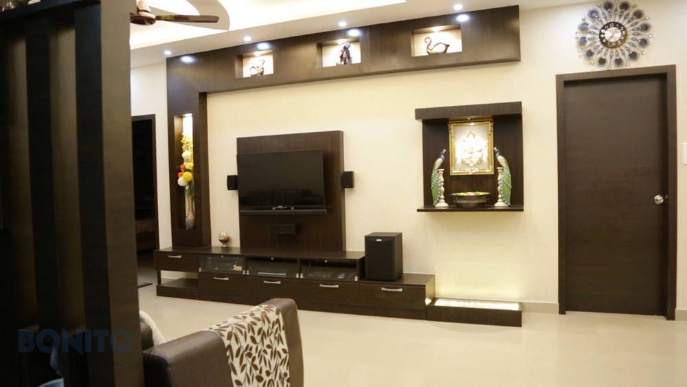 Modular TV Unit Design With Backpanel: Modern Living Room By Bonito Designs  Bangalore