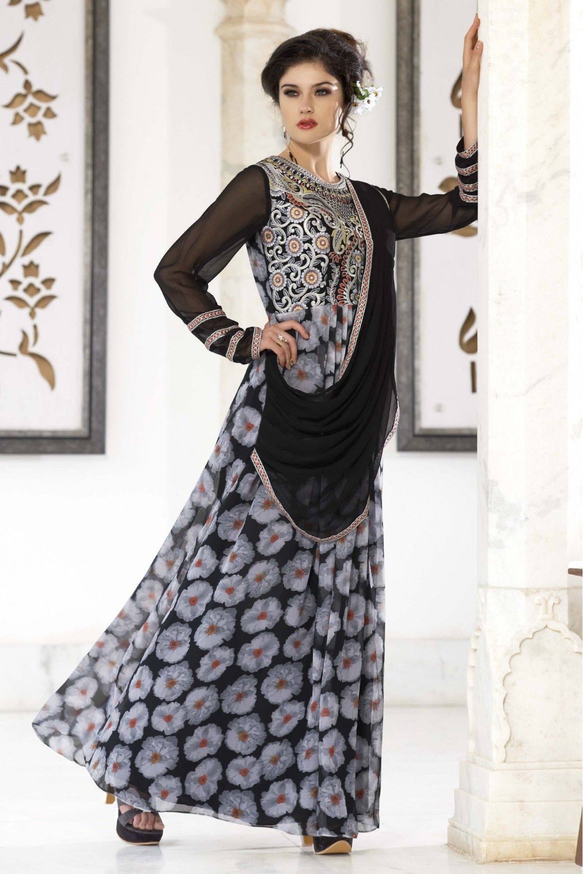 Grey And Black Colour Georgette Fabric Designer Semi Stitched Flower