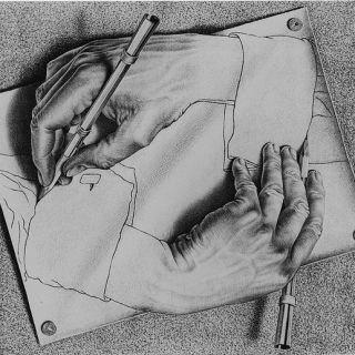 Escher..amazing drawing...wow very complicated to draw hands like that..love the shading techniques.