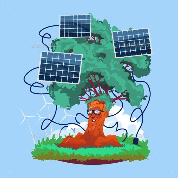 Cartoon Smiling Tree With Solar Panels Renewable (With images ...
