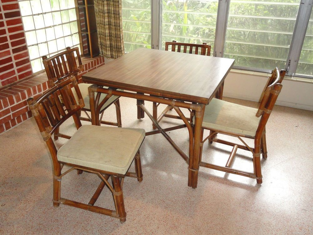 RARE 60\'s FICKS REED RATTAN DINING TABLE & CHAIRS (SLIDING ...