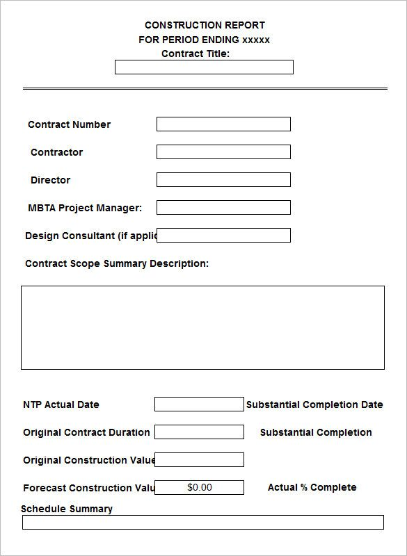 Daily Construction Report Template u2013 25+ Free Word, PDF Documents - free construction contracts