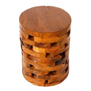 Stonehenge Stump End Table In Solid Teak Wood | Overstock