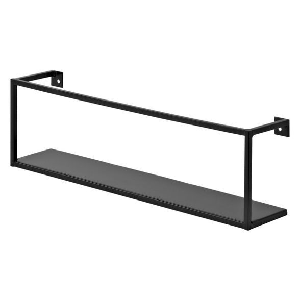 Floating Wall Shelf Black In 2020 Floating Wall Shelves Metal Wall Shelves Wall Shelves