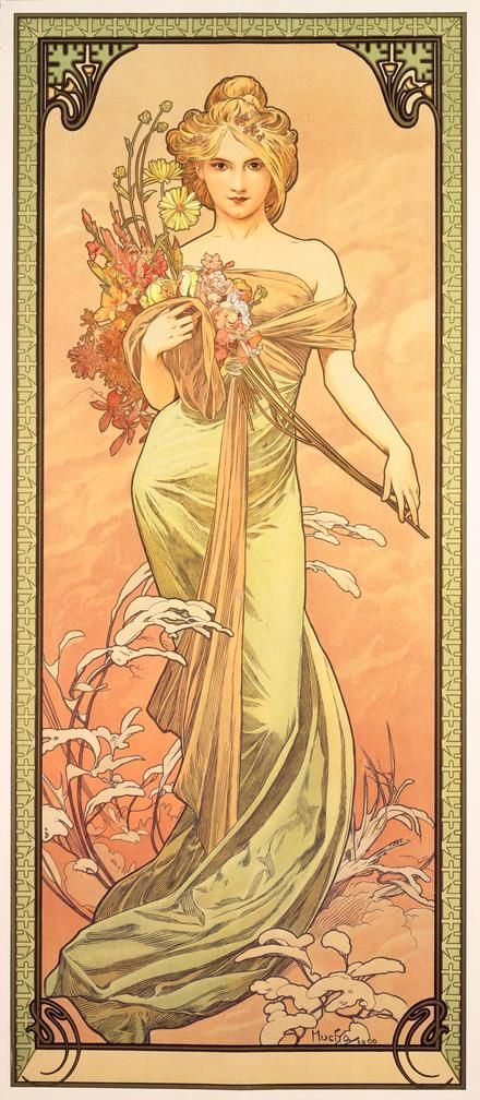 The Seasons:Spring. (1900) Alphonse Mucha