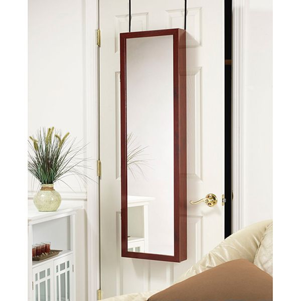 Cherry Wood Hanging Armoire Mirror | Overstock.com