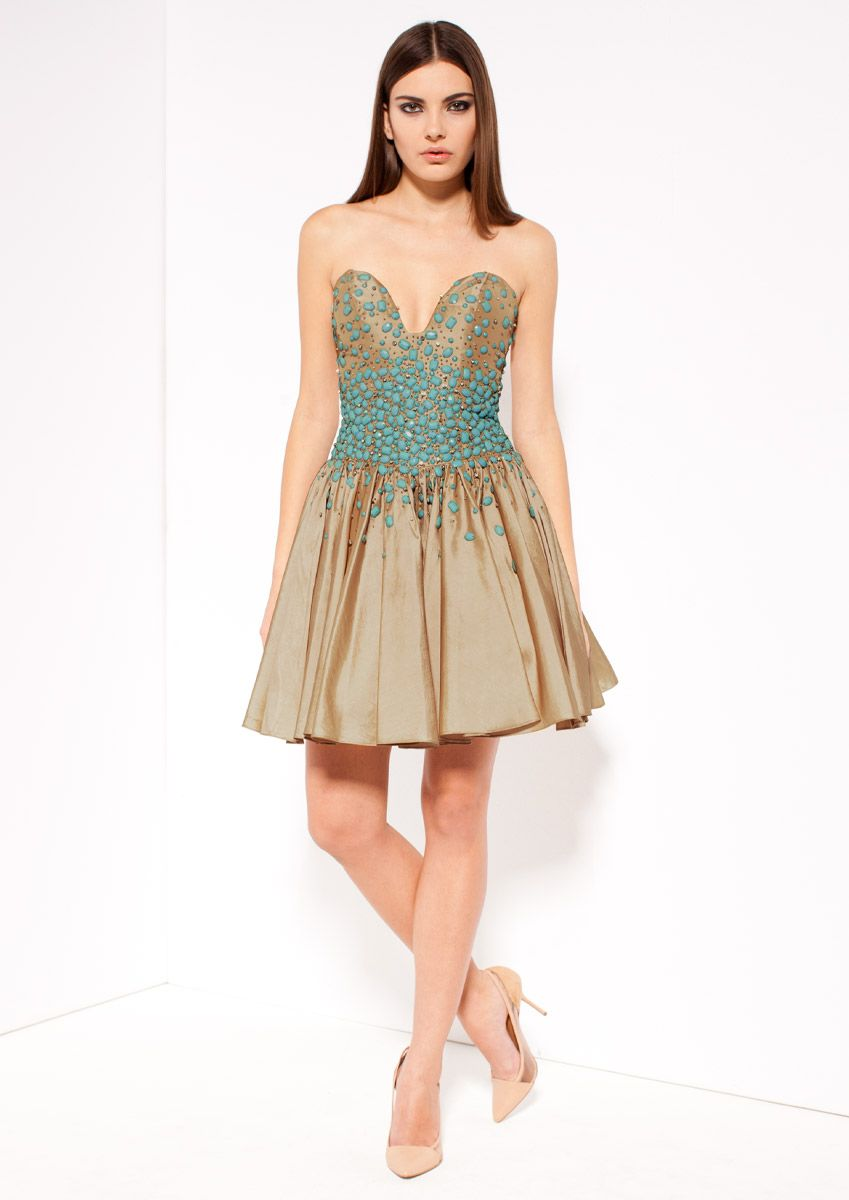 Verity champagne taffetta prom dress forever unique pinterest
