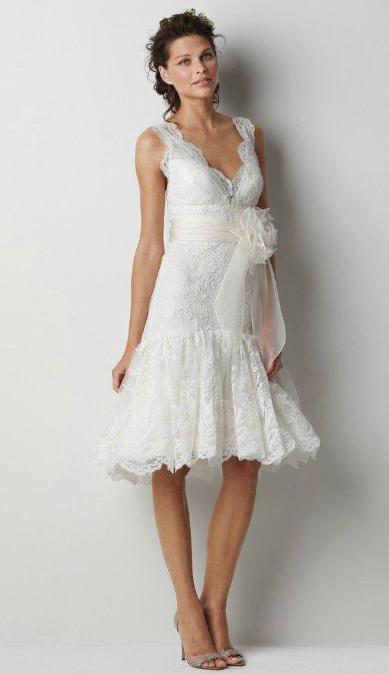 Feminine knee length lace wedding dress for older brides for Elegant wedding dresses for mature brides