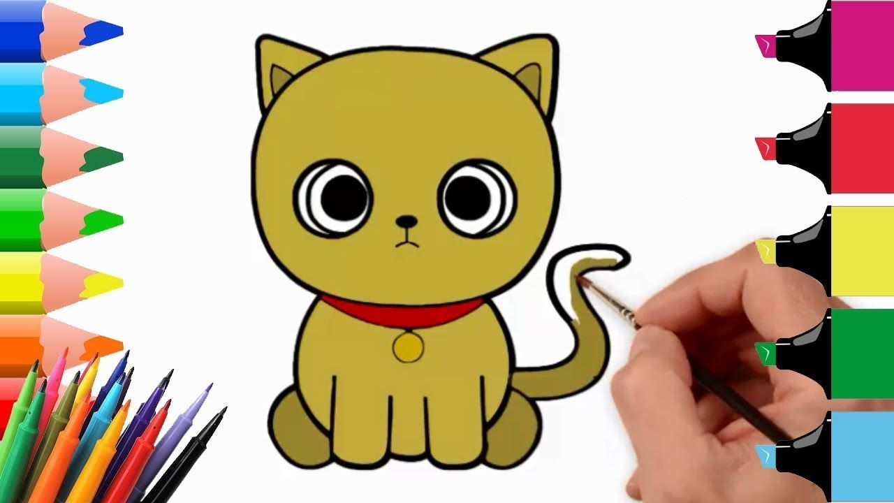 How To Draw Cat Coloring Pages Youtube Videos For Kids Easy Step By St Cat Drawing Youtube Videos For Kids Cat Colors