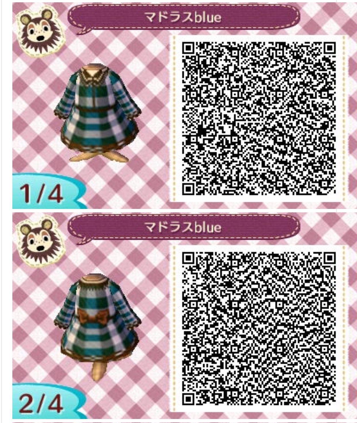 Acnl Blue Plaid Dress - Animal Crossing Leaf Qr Codes