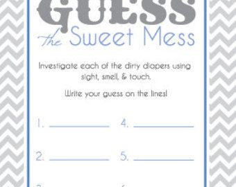 Baby Shower Game Cards For Guess The Sweet Mess Candy Bar Game! Dirty Diaper  Game! Printable! Teal And Gray! Ready To Print