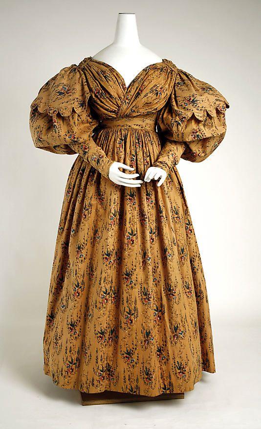 c. 1830 walking dress, British. Cotton. The Met, 1977.91.1