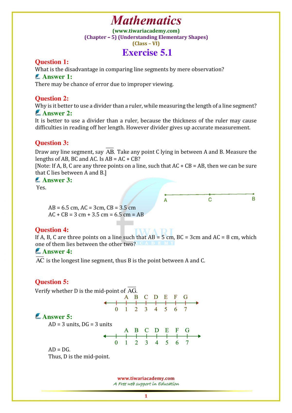 Ncert Solutions For Class 6 Maths Chapter 5 Exercise 5 1 In English Medium Class 6 Maths Math Chapter [ 1698 x 1200 Pixel ]