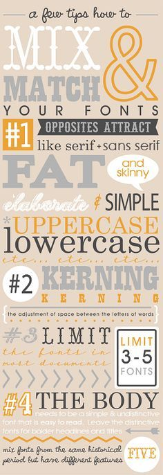 Fontaholic: Mixing and Matching Fonts .. although for design novices I'd say mixing a max of three fonts is a better rule.