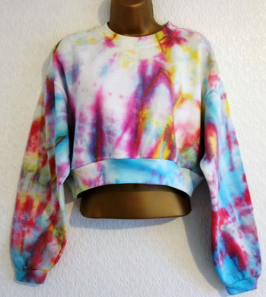 New Tie Dye 90s Cropped Jumper Sweater Crop Top Slouchy Amp Matching Bag 8 10 12 Sport [ 1000 x 898 Pixel ]