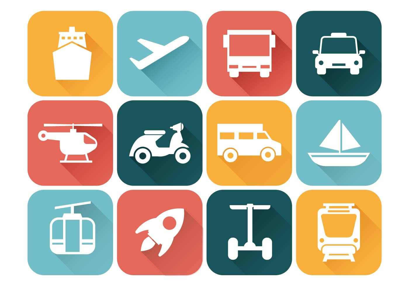 Set of free Transportation Icons Vector. Flat Style