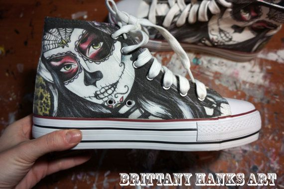 Womens Converse Style Tattoo Art Day of the dead sugar skulls Shoes Dia de  los muertos hi high tops alternative fashion dark art gothic art on Etsy 4e7d441fc8c8